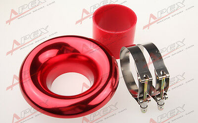 """New 3"""" Red Universal Velocity Stack For Cold/ram Engine Air Intake/turbo Horn"""