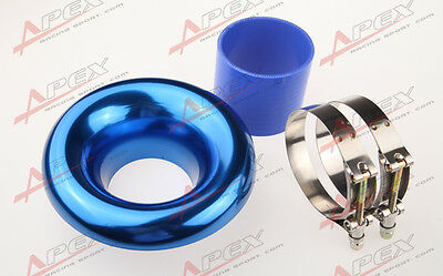 """New 3.5"""" Blue Universal Velocity Stack For Cold/ram Engine Air Intake/turbo Horn"""