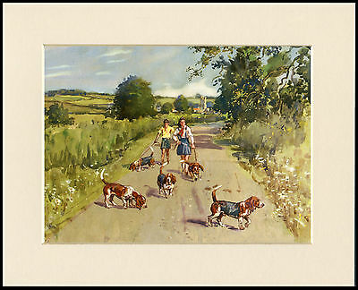 Basset Hound Dogs And Children In A Rural Scene Lovely Dog Print Ready Mounted