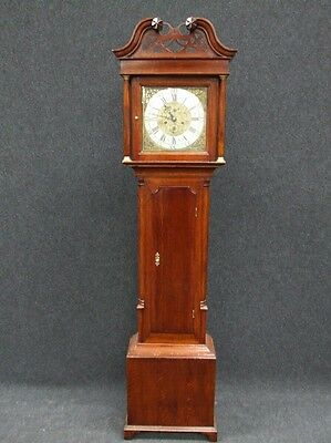 Impressive Georgian Oak Brass Face 8 Day Grandfather Clock In Lovely Condition