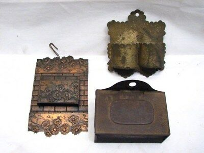 Lot Vintage Tin Wall Match Safe Holder Double Pocket Fireplace Primitive Lot