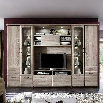 wohnwand sonoma eiche nachbildung wohnzimmer schrank regal vitrine highboard eur. Black Bedroom Furniture Sets. Home Design Ideas