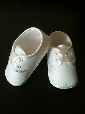 FREE POST Baby Boy Christening Baptism Pram Shoes Booties White/Ivory  0-12Month