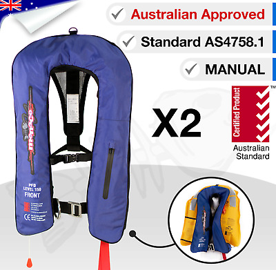 x2 ADULT Inflatable Life Jackets PFD1 Type 1 Yoke Manual LifeJackets Level L 150