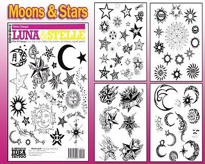 MOONS & STARS Tattoo Flash Design Book 66-Pages Cursive Writing Art Supply