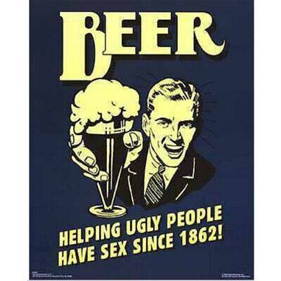 Beer Blue POSTER 40x50cm NEW * Helping Ugly People Have Sex Since 1862