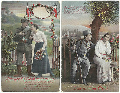LOT 2 VINTAGE GERMAN COUPLES WORLD WAR I POSTCARDS