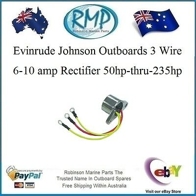 A Brand New 3 Wire 6-10 amp Rectifier Suits Evinrude Johnson Outboards  # 583408