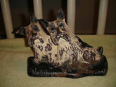 Vintage Scottish Terrier Cast Iron Doorstop Or Bookend-3.4 LBS-Lovely Patina