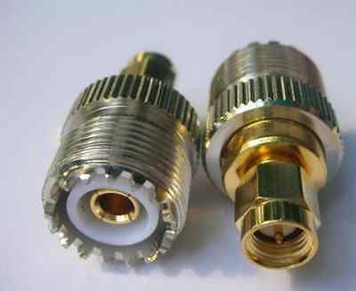 1piece UHF female SO239 (PL259) to SMA male straight adapter gold contact 85#