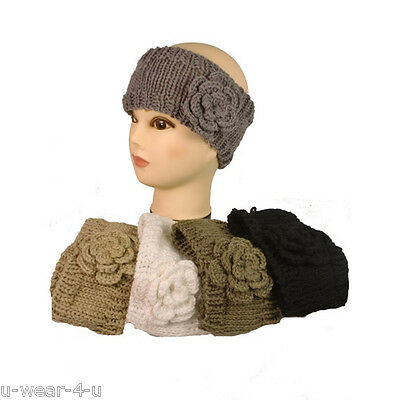 Ladies Chunky Knitted Headband Hairband Flower Rose Winter Ski Hat Earmuffs Cute