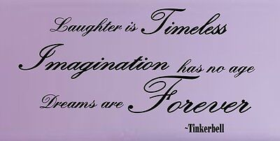 """TINKERBELL QUOTE """"Dreams are forever"""" VINYL wall decal/words/lettering/DISNEY"""
