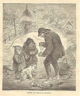 1892 Print   Ice Fishing in Holland in Winter  The Netherlands