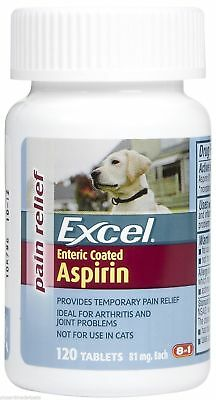 Excel, Aspirin for Dogs 81mg 120 tab, aches join & arthritis pain, coated