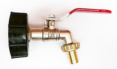 """IBC CAP and BRASS LEVER TAP 1/2"""" to Garden Hose WATER  Bio-Diesel  Connector"""