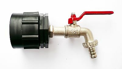 "HEAVY DUTY IBC CAP (S60X6) to BRASS LEVER TAP 1/2"" to 1/2"" Garden Hose Tail"