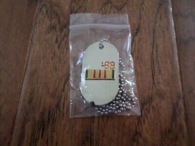 Military Dog Tag Vietnam Service 1969 With Chain