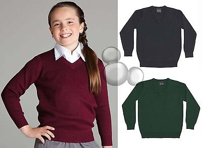 Kids School Jumper Size 4 6 8 10 12 14 Knitted V Neck Woollen Top  New!