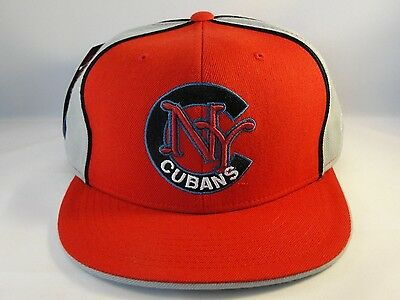New York Cubans Negro League Fitted Hat Cap 360 Rotating Bill Red Gray