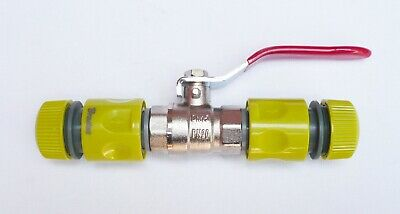 """IBC HOSE PIPE JOINER Coupler INLINE Brass Ball Valve to 1/2"""" Snap On Connectors"""