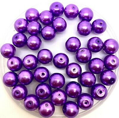10mm Glass faux Pearls - Mauve (40 round pearl beads) jewellery making (purple)