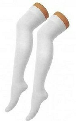 Ladies Girls White Long Over The Knee Socks Fashion Wear