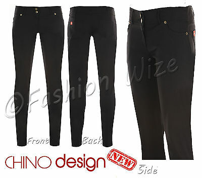 Girls Black School Trousers Jeans Miss Sexies Super Skinny Chino Style Size 6 14