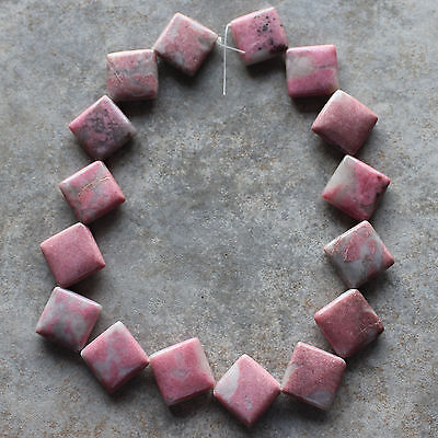 "19x19mm Natural Rhodonite Square Diamond Loose Beads 16"" strand"