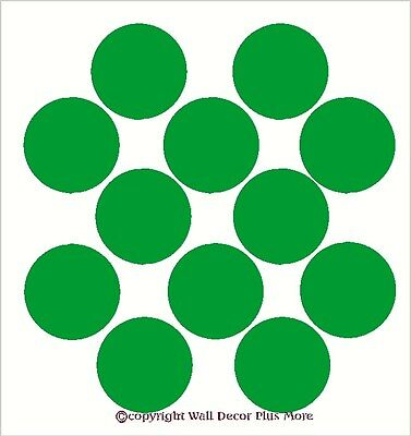 Solid Polka Dot Circle Wall Vinyl Stickers Easy Peel -n- Stick 12pc 6inch Large