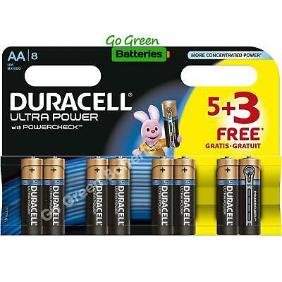 8 x Duracell AA Ultra Power Alkaline Batteries - LR6, MX1500, MN1500, MIGNON