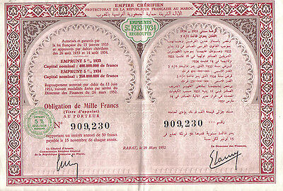 Africa Morocco Empire Bond 1952 5% Loan 1933 1934 1000 fr Uncancelled coupons
