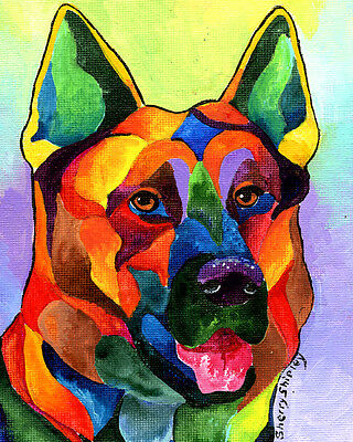 GERMAN SHEPHERD 8X10 DOG Print from Artist Sherry Shipley