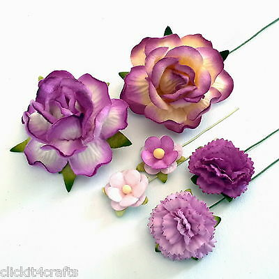 50 Purple Carnation Roses Mulberry Paper Flowers Wedding Gift Scrapbook ZM3-601