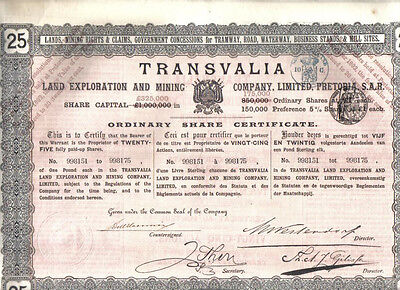 Transvaal South Africa 1892 Transvalia Land Exploration Mining £25 Uncancelled