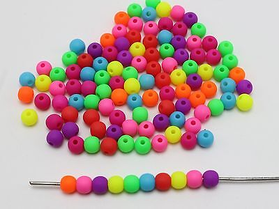 1000 Mixed Frost Neon Color Acrylic Round Beads 5mm Smooth ball Seed Beads