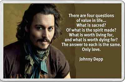JOHNNY DEPP FRIDGE MAGNET PHOTO & personal quote LOVE Unusual gift