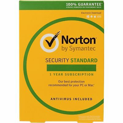 NEW SYMANTEC NORTON STANDARD internet security antivirus 2018 1PC CD +KEY