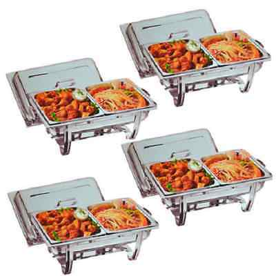 Four S/Steel Chafing Dishes With 8 Extra Food Pans **Free Next Day Delivery**