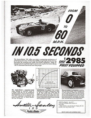 Austin-Healey 100 reproduction ad Motorsport magazine July-August 1955 issue