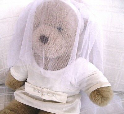 Teddy Bear Clothes, Handmade Stella Velvet and Crepe Bride Dress & Tulle Veil
