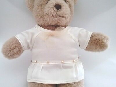 Teddy Bear Clothes, Handmade Charlotte Cream Satin Dress with Gold Trims