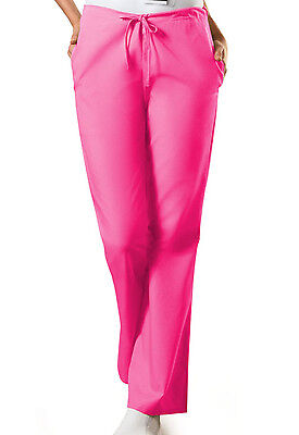 Shocking Pink Cherokee Workwear FlareLeg Drawstring Scrub Pants 4101 SHPW