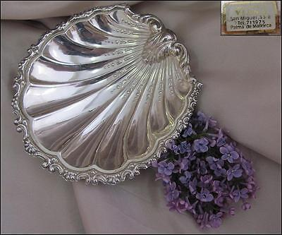 Vintage Spanish Silver Tabletop Shell Shaped Candy Platter - Marked