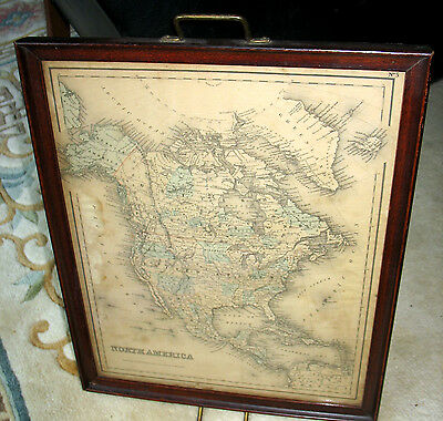 Antique NORTH AMERICA  MAP 1855 engrav. by J.H. Colton: hanging mohogany tray