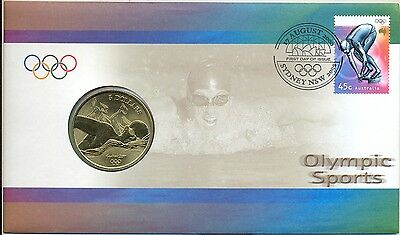 Coin Australia $5 Olympic Games Swimming PNC 2000 official post office cover