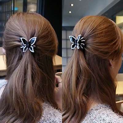 Fashion Korean Women Butterfly Crystal Acrylic Hair Claw Clips Barrette