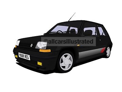 Renault 5 Gt Turbo Car Art Print (Size A3). Personalise It!
