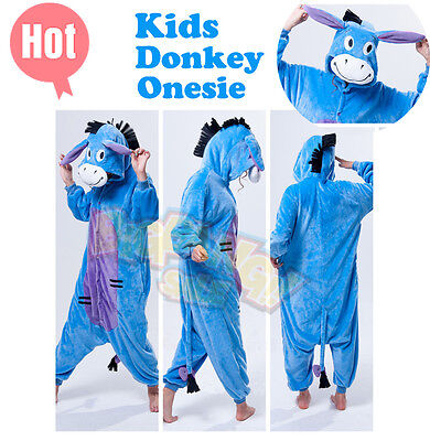 Animal Donkey Onesie Party Cosplay Costume Pajama Kids Children Family Unisex