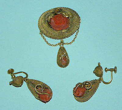 Exquisite Antique Victorian Lady´s Gold Filigree Coral Earrings Pin Brooch Set