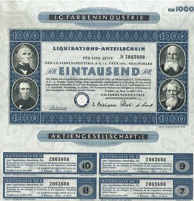 Original Germany 1953 IG Farbenindustrie 1000 RM Deco Uncancelled coupons
